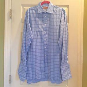 Thomas Pink Blue/Navy Windowpane Plaid Shirt